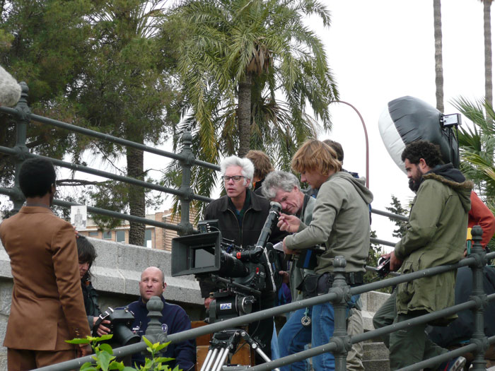 El director Jim Jarmusch rodando 'The Limits of Control' en Madrid (2009)