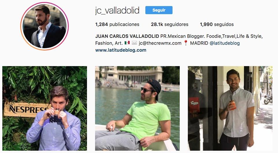 Perfil de Instagram de @jc_valladolid